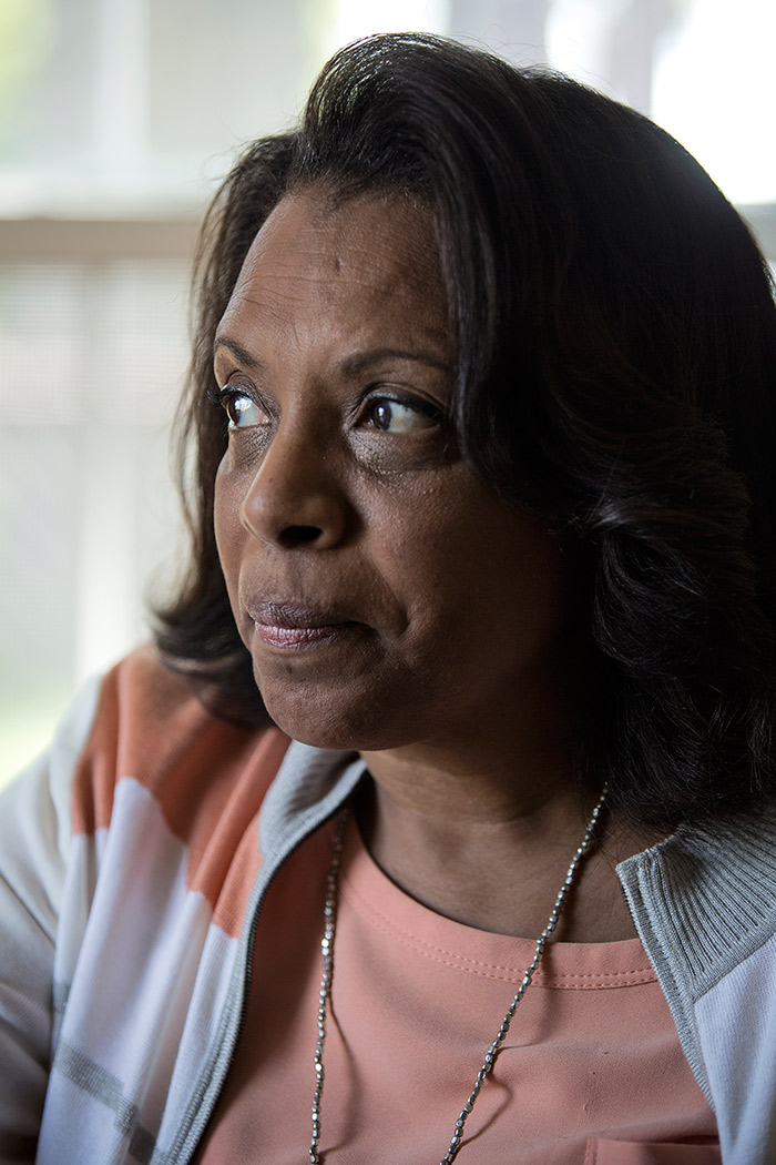 Detroit, MI - Thursday, Sept. 24, 2015: Brenda Watson has her photograph taken on Thursday, Sept. 24, 2015 at her home in Detroit. Tim Galloway for The Intercept