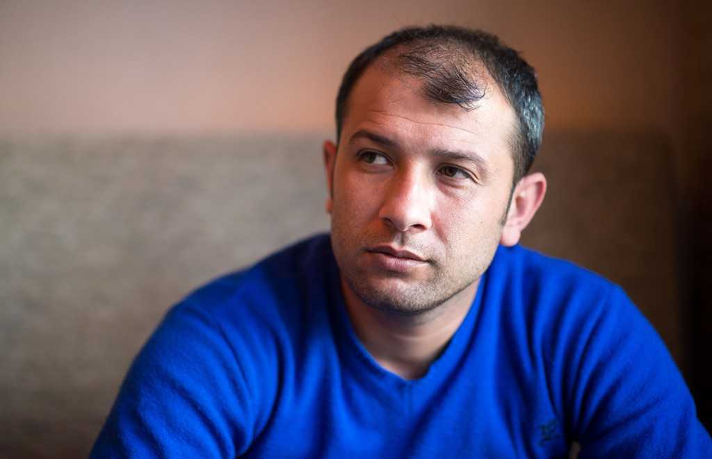 """Raed Al Saleh, head of the Syrian Civil Defense """"White Helmets"""" , during an interview in Berlin on March 22, 2015."""