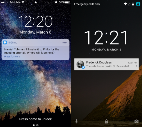 By default you can see Signal notifications on your lockscreen