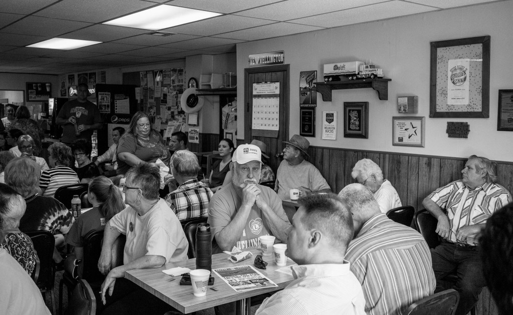 Rick Schon at the Chamber of Commerce meeting that takes place each week with residents and local business owners to assess the health of business in town and local events. Wellington, KS. July 20, 2017.