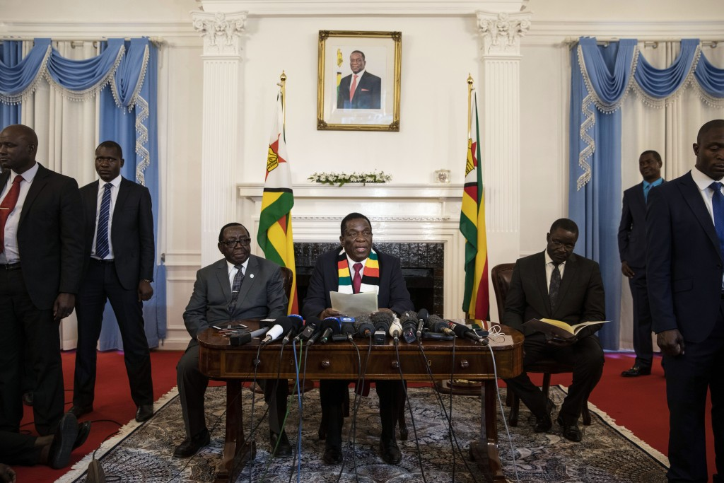 HARARE, ZIMBABWE - AUGUST 03: President-elect Emmerson Mnangagwa conducts a press conference on August 3, 2018 in Harare, Zimbabwe. Zimbabwe Electoral Commission (ZEC) officials last night announced the re-election of President Emmerson Mnangagwa of the ruling Zimbabwe African National Union - Patriotic Front (ZANU-PF). The election was the first since Robert Mugabe was ousted in a military coup last year, and featured a close race between Mnangagwa and opposition candidate Nelson Chamisa of the Movement for Democratic Change (MDC Alliance). Deadly clashes broke out earlier in the week following the release of parliamentary election results, amid allegations of fraud by Chamisa and MDC supporters. (Photo by Dan Kitwood/Getty Images)