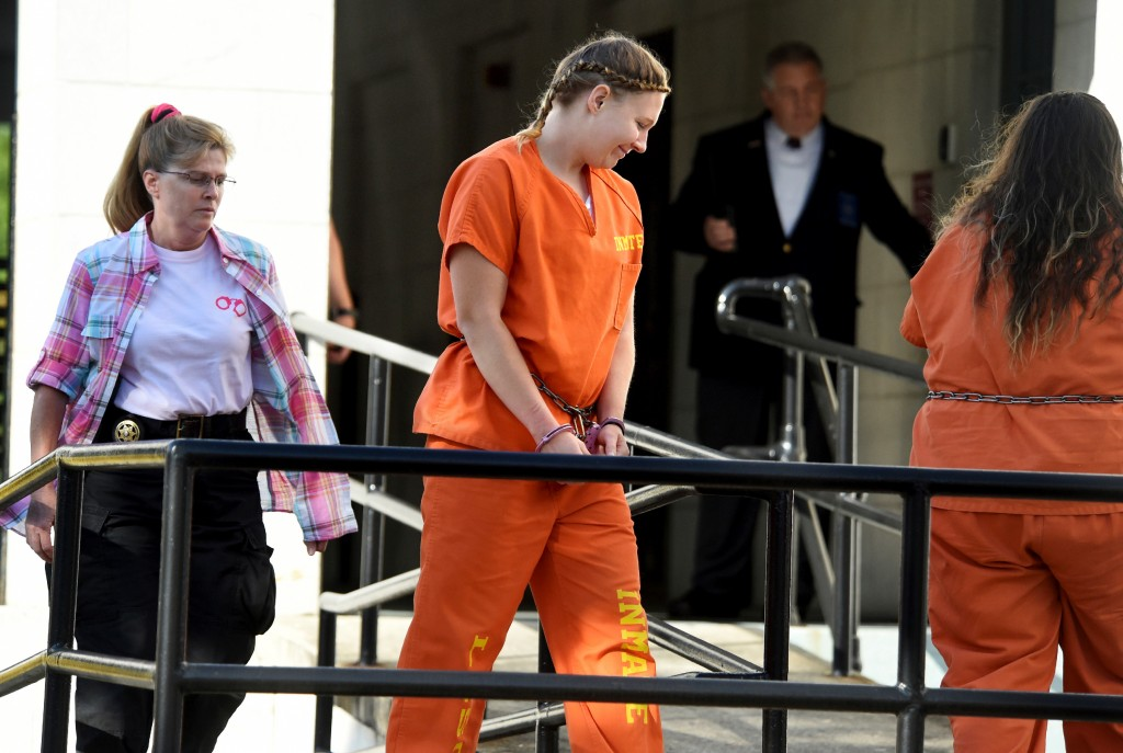 Reality Winner, charged with leaking U.S. secrets to a news outlet, walks into the Federal Courthouse in Augusta, Ga., Tuesday, June 26, 2018. (Michael Holahan/The Augusta Chronicle via AP)