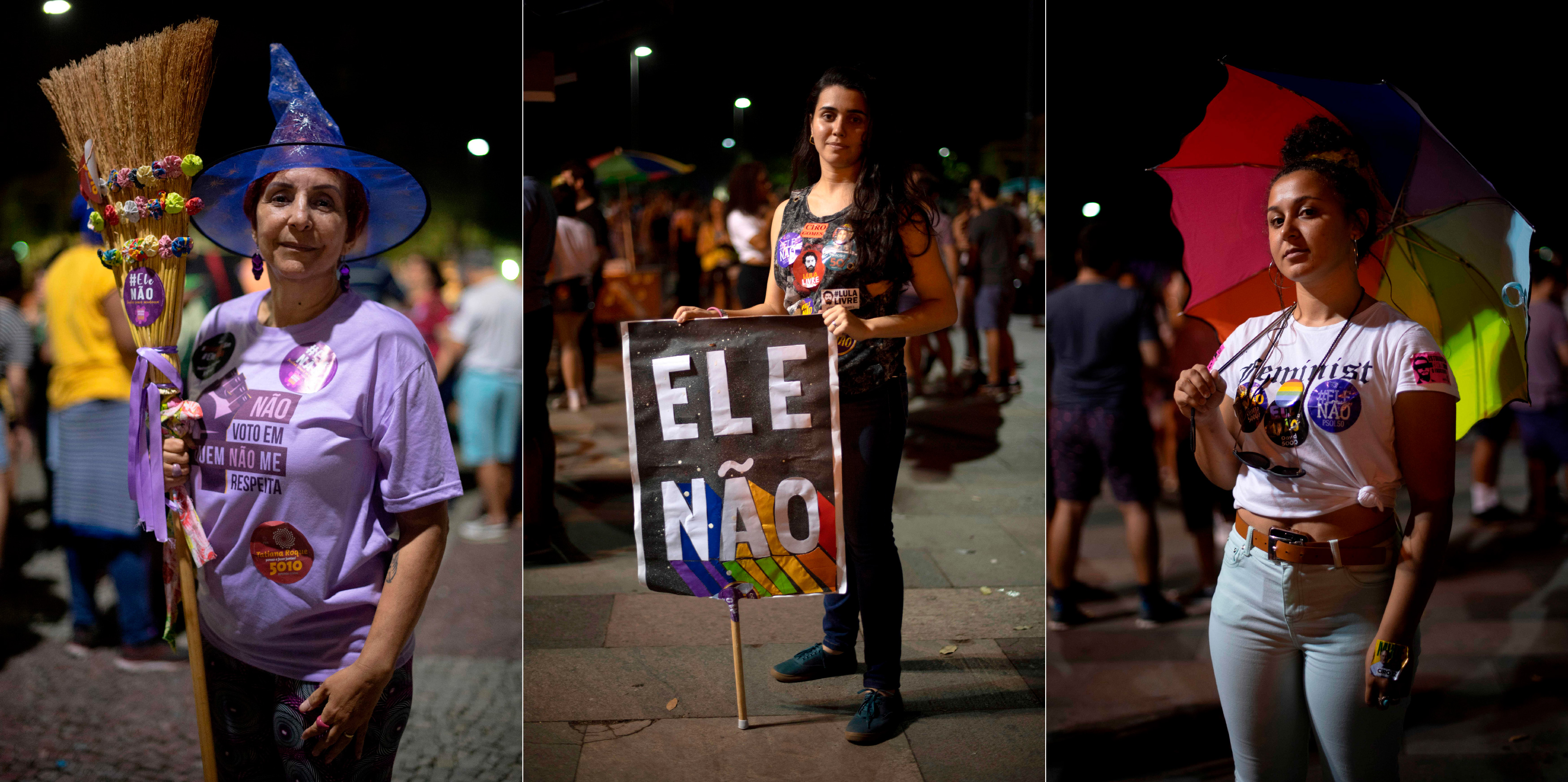 "Combo picture of Brazilian university professor Regina Dantas (L), 56, journalist Barbara Christie, 25, and biomedical technician Adriana Ribeiro (R), 25, posing for a portrait during a demonstration against Brazilian right-wing presidential candidate Jair Bolsonaro called by a social media campaign under the hashtag #EleNao (Not Him), in Rio de Janeiro, Brazil, on September 29, 2018. - AFP asked Dantas, Christie and Ribeiro why ""not him"". Their respective answers were: ""Not him because we will lose our achievments related to feminist struggles,"" ""Not him because he is sexist, misogynist and homophobic"" and ""Not him because he does not represent who I am, a lesbian and a woman."" (Photo by Mauro Pimentel / AFP)        (Photo credit should read MAURO PIMENTEL/AFP/Getty Images)"