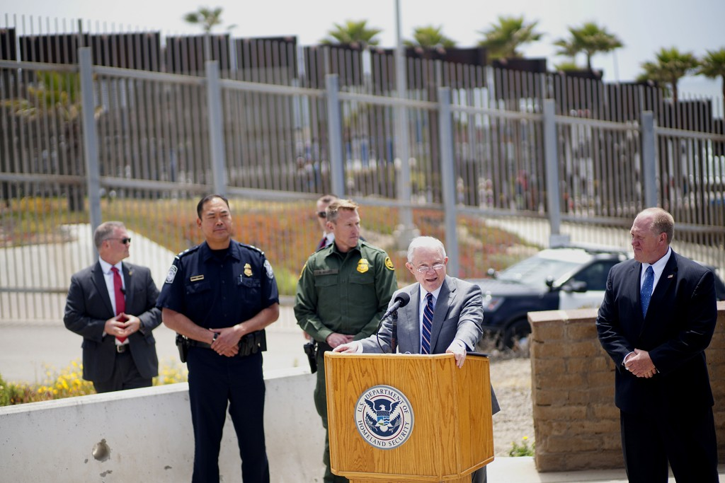 SAN YSIDRO, CA - MAY 7:  Attorney General Jeff Sessions addresses the media during a press conference at Border Field State Park  on May 7, 2018 in San Ysidro, CA.  Sessions was on a visit to the border along with ICE Deputy Director Thomas D. Homan to discuss the immigration enforcement actions of the Trump Administration. (Photo by Sandy Huffaker/Getty Images)