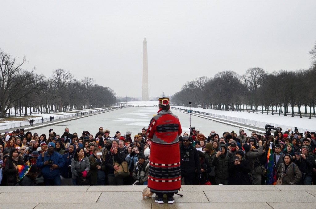 A woman speaks during the Indigenous People's March on the National Mall at the Lincoln Memorial in Washington, DC, on January 18, 2019. (Photo by ANDREW CABALLERO-REYNOLDS / AFP)        (Photo credit should read ANDREW CABALLERO-REYNOLDS/AFP/Getty Images)