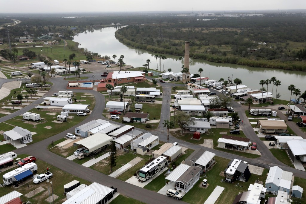 LOS EBANOS, TX - JANUARY 05:  An RV community sits on the bank of the Rio Grande at the U.S.-Mexico border on January 5, 2017 near Los Ebanos, Texas. The number of illegal immigrants passing through such areas has surged ahead of the upcoming Presidential inauguration of Donald Trump, who has pledged to build a wall along the U.S.-Mexico border.  (Photo by John Moore/Getty Images)