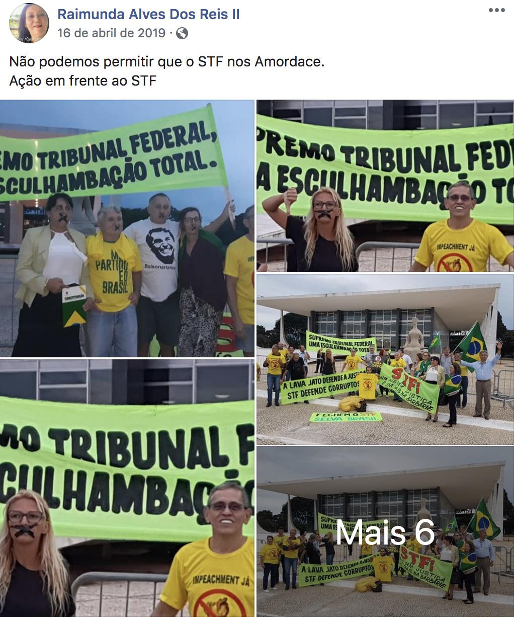 """Faixas de manifestação antidemocrática engrossada por Reis enquanto ela deveria estar trabalhando achincalham STF: """"Supremo Tribunal Federal, esculhambação total""""."""