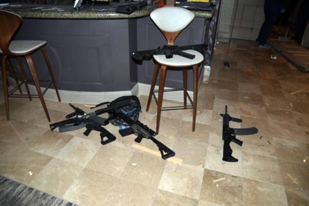 Kitchenette in the hotel room of Las Vegas gunman Stephen Paddock's 32nd floor room of the Mandalay Bay hotel in Las Vegas, an image released as part of a preliminary report by Clark County Sheriff Joe Lombardo on Jan. 19, 2018, in Las Vegas.