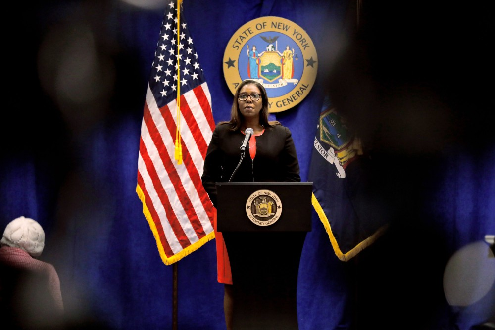 Letitia James, New York's attorney general, speaks during a news conference in New York, U.S., Thursday, Aug. 6, 2020. New York is seeking to dissolve theNational Rifle Association as the state attorney general accused the gun rights group and its current and former senior officials of engaging in a massive fraud against donors. Photographer: Peter Foley/Bloomberg via Getty Images