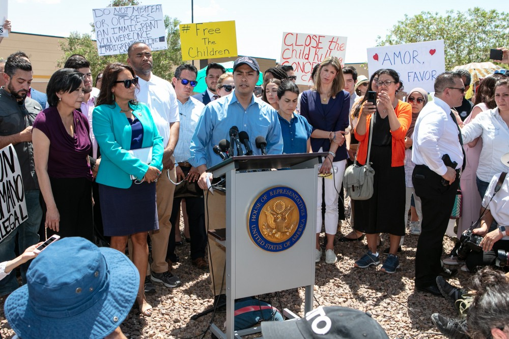 Rep. Joaquin Castro (D-TX) addresses the media after touring the Clint, TX Border Patrol Facility housing  children on July 1, 2019 in Clint, Texas. Reports of inhumane conditions have plagued the facility where migrant children are being held. (Photo by Christ Chavez/Getty Images)