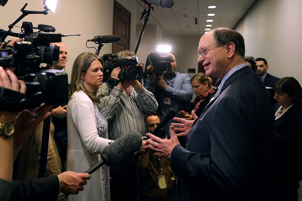 Rep. Brad Sherman (D-CA) (R) talks to reporters as he leaves a House Democratic caucus meeting at the U.S. Capitol February 8, 2018 in Washington, DC. Support from Democrats for a federal budget deal struck by leaders in the Senate will be key in getting the legislation through the House and prevent a government shutdown.  (Photo by Chip Somodevilla/Getty Images)