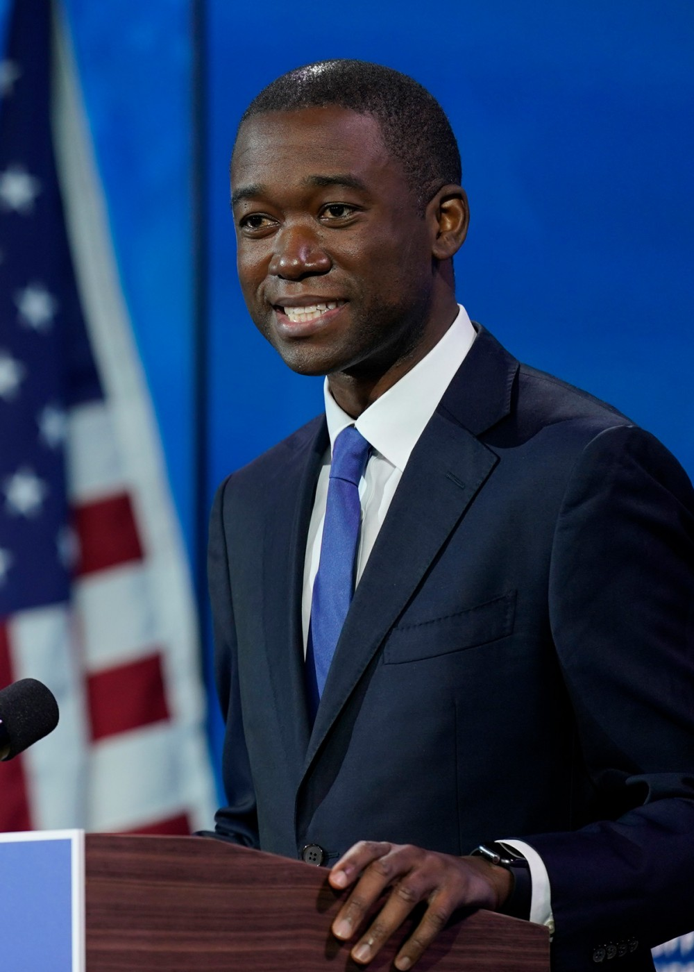 Wally Adeyemo who President-elect Joe Biden nominated to serve as Deputy Secretary of the Treasury speaks at The Queen theater, Tuesday, Dec. 1, 2020, in Wilmington, Del. (AP Photo/Andrew Harnik)
