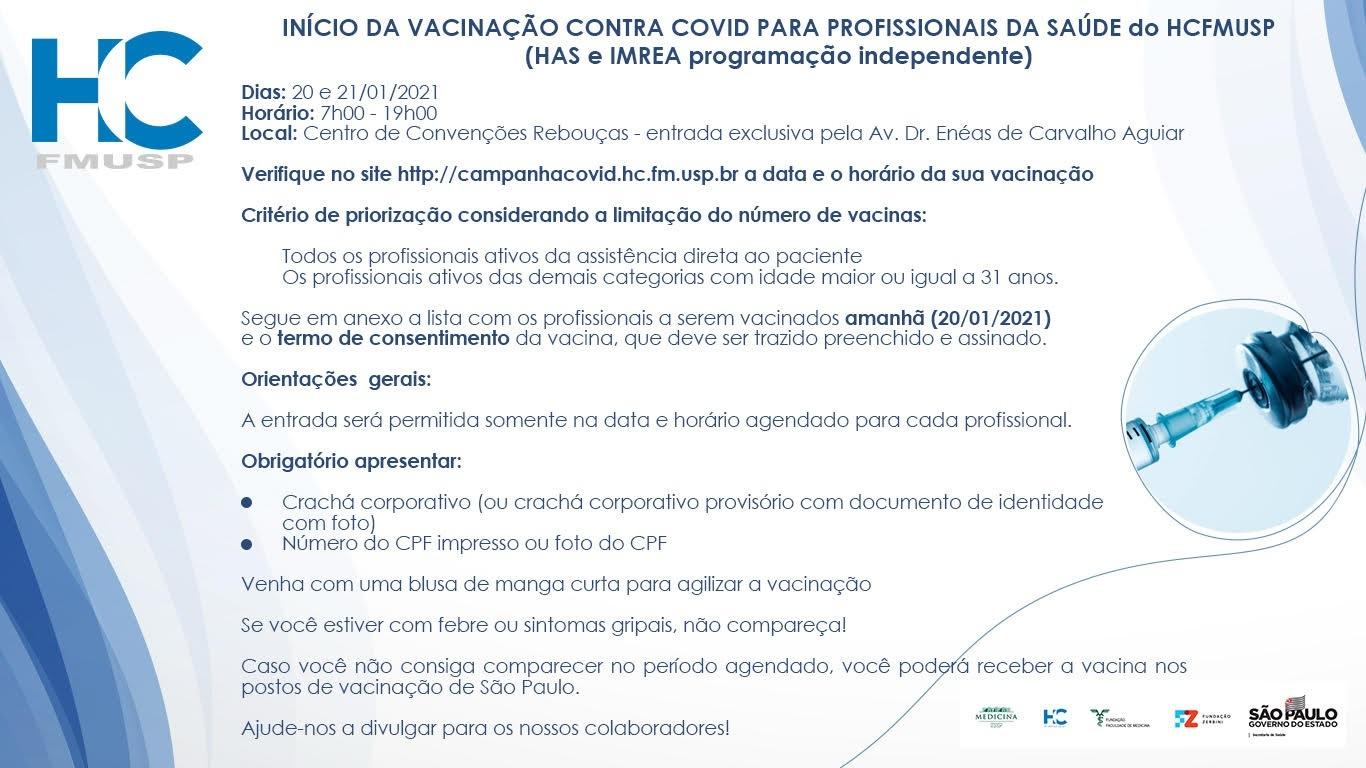 Hospital das Clínicas vacina professores em home office, alunos de pós da USP e até costureira