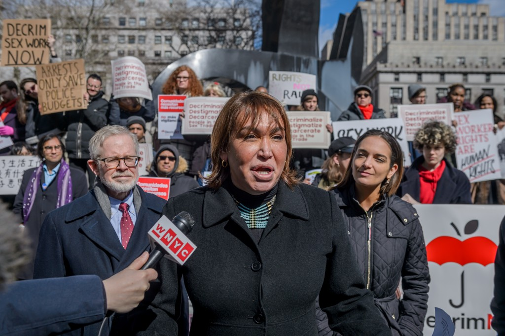FOLEY SQUARE, NEW YORK, UNITED STATES - 2019/02/25: Cecilia Gentili, member of Decrim NYs Steering Committee - LGBTQ+, immigrant rights, harm reduction and criminal justice reform groups, led by people who trade sex, launched 20+ organization coalition, Decrim NY on February 25, 2019, to decriminalize and decarcerate the sex trades in New York city and state. Senate Labor Committee Chair Ramos and Womens Health Committee Chair Salazar and Assembly Health Committee Chair Gottfried announced intention to introduce comprehensive decriminalization bill this session. (Photo by Erik McGregor/LightRocket via Getty Images)