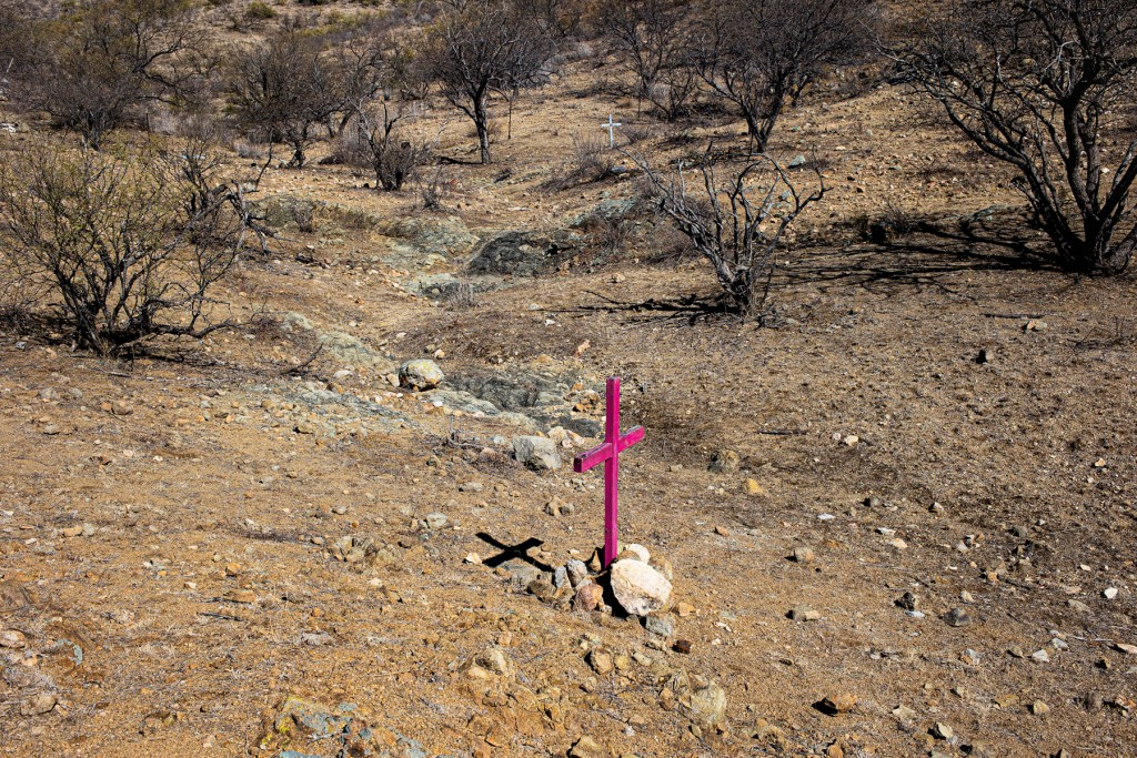 ALTAR VALLEY, ARIZONA- JANUARY 28: Crosses left by border activists mark the locations where the remains of migrants who died trying to cross into the United States through the harsh conditions of the Sonoran Desert were discovered, January 28, 2021 in the Altar Valley, Arizona. Over 220 deaths were reported in this section of the desert in 2020 and the number is probably much higher. (Photo by Andrew Lichtenstein/Corbis via Getty Images)