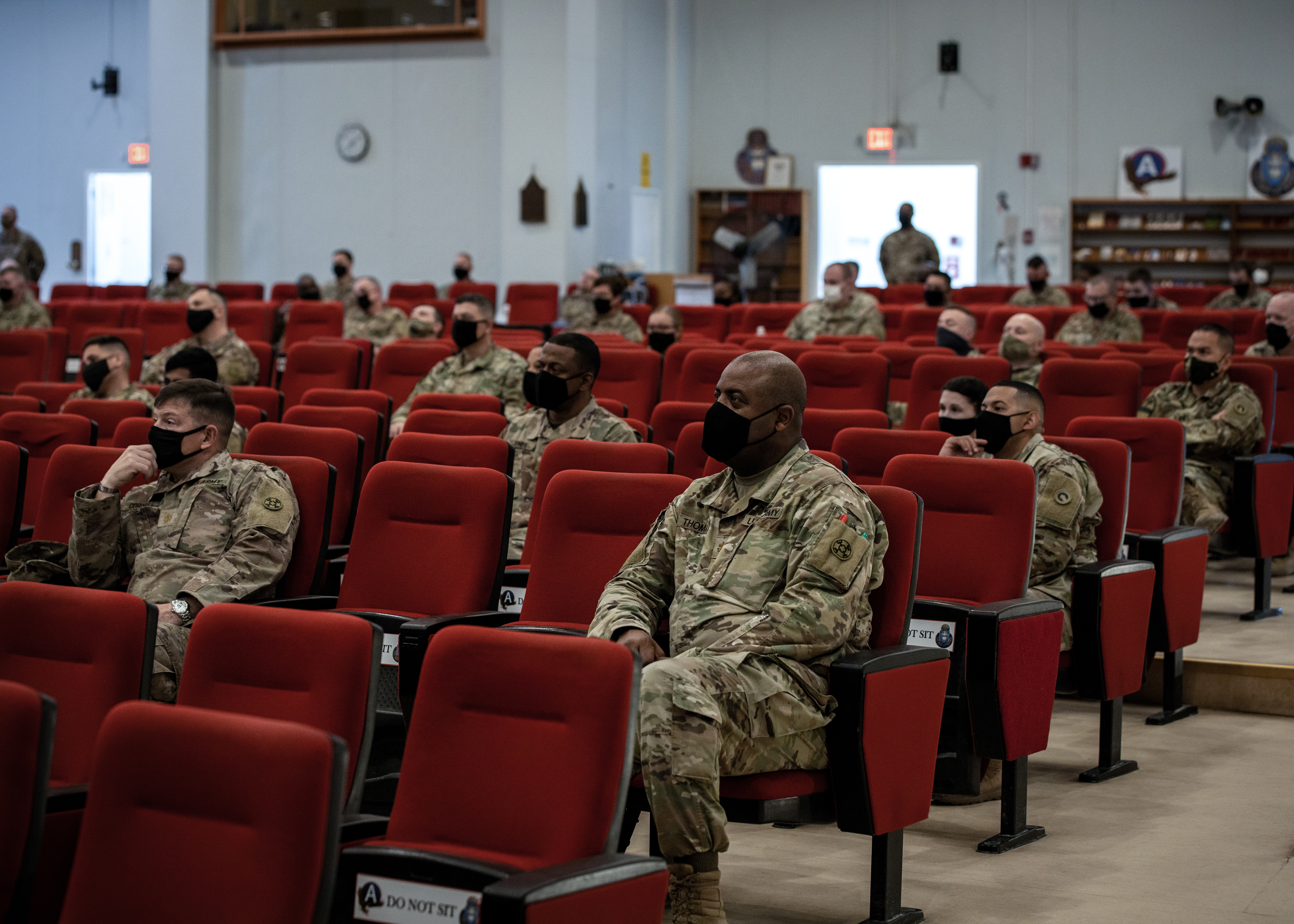 Soldiers with the 1st Theater Sustainment Command participate in an extremism stand-down at Camp Arifjan, Kuwait, March 16, 2021. The stand-down follows the guidance given by Secretary of Defense Lloyd Austin that directs commanding officers and supervisors at every level conduct extremism training with their personnel. (U.S. Army Photo by Spc. Zoran Raduka 1st TSC Public Affairs)