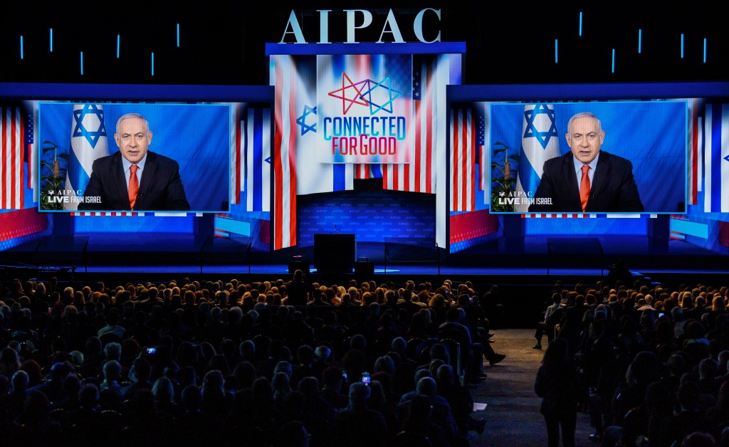 WASHINGTON, DC, UNITED STATES - 2019/03/26: Benjamin Netanyahu, Prime Minister of Israel seen speaking via video to the American Israel Public Affairs Committee (AIPAC) during the Policy Conference in Washington, DC. (Photo by Michael Brochstein/SOPA Images/LightRocket via Getty Images)