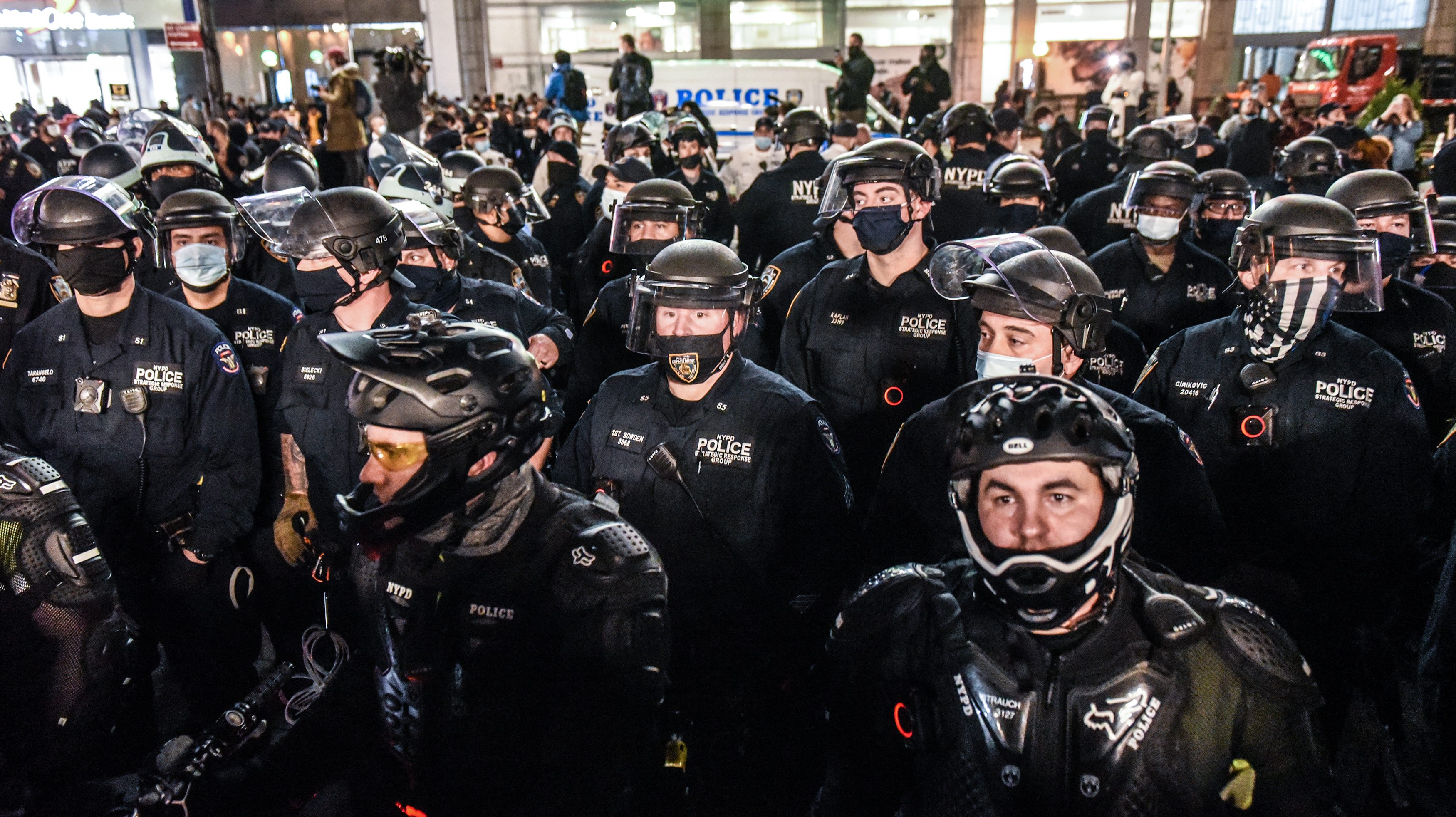 New York Police Department (NYPD) officers stand guard at a protest during the 2020 Presidential election in the Union Square neighborhood of New York, U.S., on Thursday, Nov. 5, 2020. At least three protests are planned Thursday evening in New York City, including a march near an area that saw a confrontation between police and demonstrators on Wednesday night that resulted in more than two dozen arrests. Photographer: Stephanie Keith/Bloomberg via Getty Images