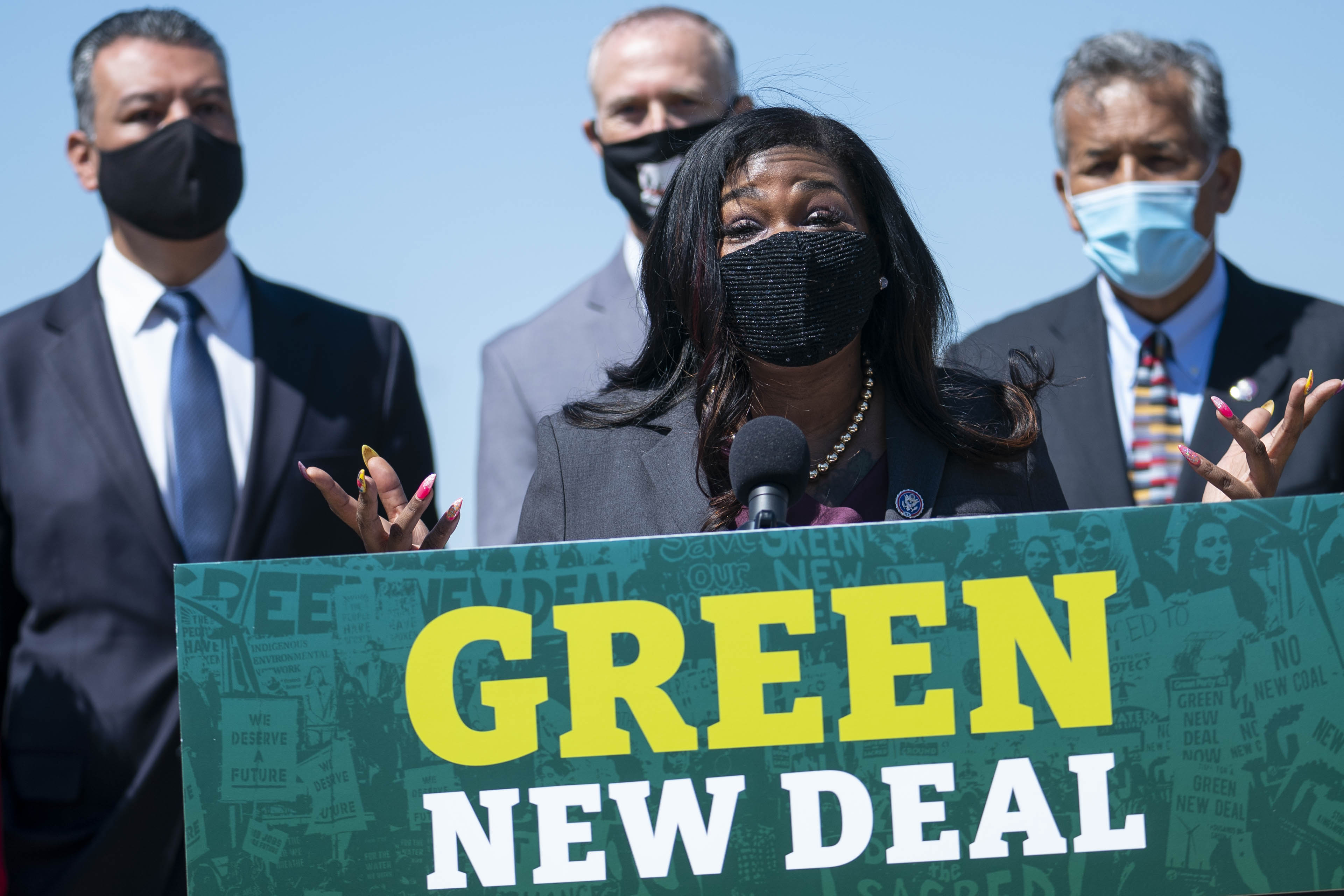 WASHINGTON, DC - APRIL 20: Rep. Cori Bush (D-MO) speaks during a news conference held to re-introduce the Green New Deal at the West Front of the U.S. Capitol on April 20, 2021 in Washington, DC. The news conference was held ahead of Earth Day later this week. (Photo by Sarah Silbiger/Getty Images)